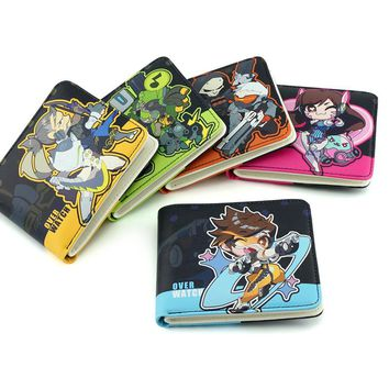 HOT!!! Anime Wallets Overwatch Student Wallet Men And Women Casual Short Wallet Cartoon Fashion Coin Purse GENJI HANZO TRACER