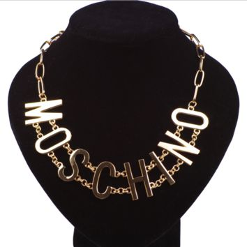 Moschino New fashion letter metal chain couple necklace golden