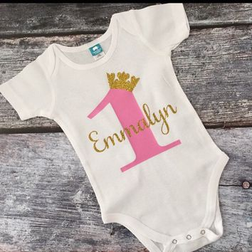 Pink and Gold Crown Birthday Outfit