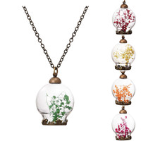 Wish Bottle Necklace Bronze Plated with Dried Flower Choker Pendant Neklace for Women Wedding -03327