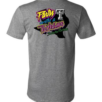 Official NCAA Texas Tech University Red Raiders TTU Masked Raider WRECK EM! Party With a Techsan Sorry for Rocking Unisex V-Neck T-Shirt - TEXT1040-d