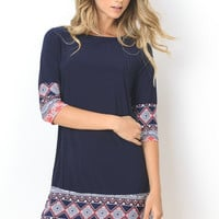 Navy Tribal Print Shift Dress
