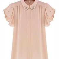 'The Vanna' Beaded Collar Ruffled Sleeve Chiffon Blouse