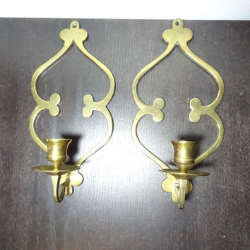 Vintage Elegant Brass Wall Sconce Candle Holders- Set of 2 - Contemporary/Hollywood Regency