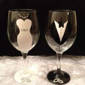 Shop Hand Painted Bride Wine Glass On Wanelo