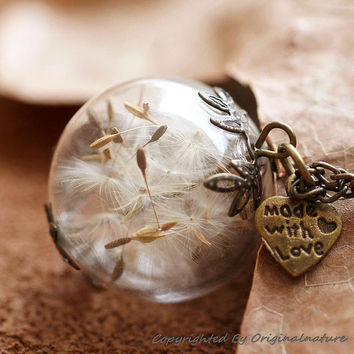 Nature Inspired Jewelry Real Dandelion Necklace Pendant Gift (HM0095-BRONZE)