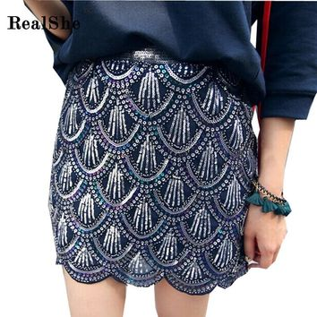 RealShe Women's Sexy High Waist Peacock Feather Sequins Tight Skirt Summer Thin Pencil Skirt Club Mini Skirt