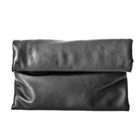 Annalisa Fold Over Clutch Handbag In Black