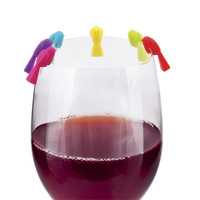 Chickadee Wine Glass Markers, Set of 6