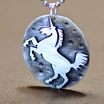 Sterling silver unicorn medallion