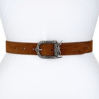 Saint Laurent Monogram YSL Celtic Suede Belt