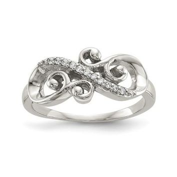 Sterling Silver Filigree Infinity CZ Ring