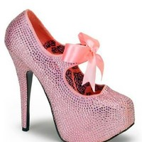 Bordello Pink Rhinestone Platform Pump - 9: Clothing