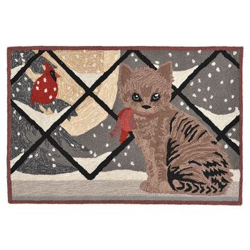 Trans Ocean Imports Liora Manne Frontporch Kitty Cat Indoor Outdoor Rug (Grey)