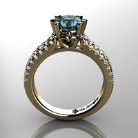 Classic 14K Yellow Gold 1.0 Ct Blue Topaz Diamond Solitaire Engagement Ring R1027-14KYGDBT