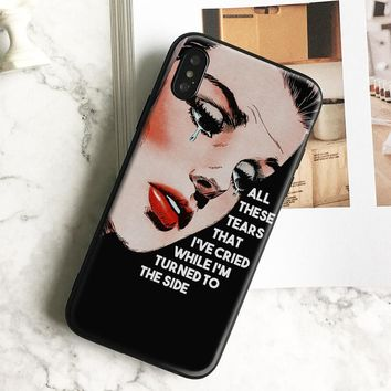 Pop art Sad girl Quotes coque Soft Silicone Phone Case Cover Shell For Apple iPhone 5 5s Se 6 6s 7 8 Plus X XR XS MAX