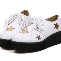 Vintage Women&#039s Platform Shoes With Sequin Star and Lace-Up Design