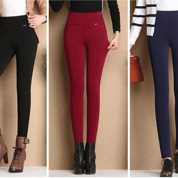 Winter High Waist Plus Size Soft Cozy Stretchy Warm Golden Fleece Leather Leggings [9632075023]