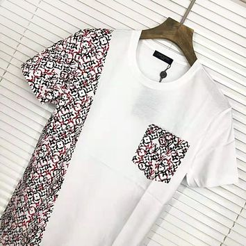 LV Louis Vuitton Fashion  New Monogram Print Women Men Leisure Top T-Shirt White