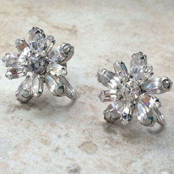 Sherman White Rhinestone Earclimber Earrings with Replaced Clip