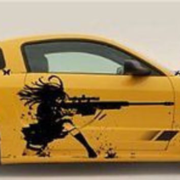 Gun Sniper Rifle Anime  Car Vinyl Graphics Girl with Rifle Gun Shots 039