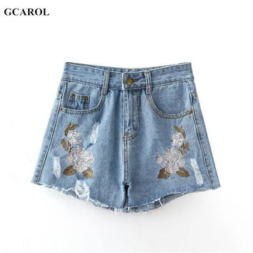 Women Retro Floral Embroidered Denim Shorts Fashion Casual Summer Spring Sexy Ripped Jeans Shorts For Ladies