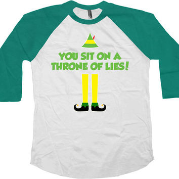Funny Christmas T Shirt Xmas Gift Ideas Buddy The Elf Quotes Holiday Clothing Elf TShirt X-Mas 3/4 Sleeve Baseball Raglan Sleeves Tee -SA697