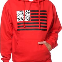 Popular Demand Cheetah Flag Red Pullover Hoodie at Zumiez : PDP