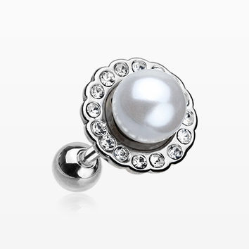 Pearl Blossom Sparkle Cartilage Tragus Earring