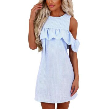 New 2019 Summer Dresses Women Fashion Sexy Off Shoulder Striped Vestido Curto Brief O-neck Puff Sleeve Loose Mini Dress designer clothes
