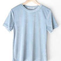 Dusty Blue Velvet Tee