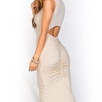 Evelyn Nude Casual V Neck Sleeveless Bodycon Midi Dress