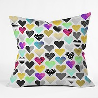 Elisabeth Fredriksson Happy Hearts Throw Pillow