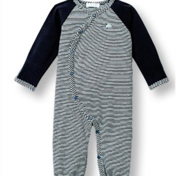 Stripe Navy One-Piece Footless Coverall with Little Mouse Detail