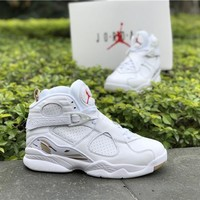 Air Jordan 8 Retro OVO Drake White/Blur-Metallic Gold AA1239 135 VII Basketball Sneaker