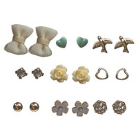 Chiffon Bow Button Earrings 9-Pack | Wet Seal