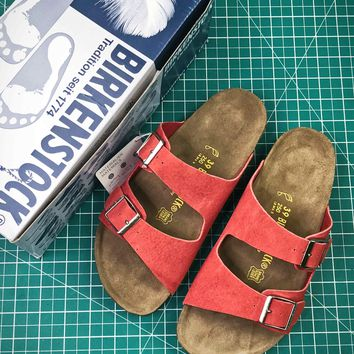 Birkenstock Arizona Soft Footbed Suede Leather Orange Sandals - Best Online Sale