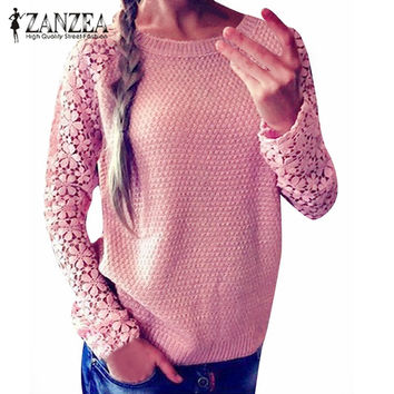 ZANZEA Spring Autumn Fashion Women 2016 Long Sleeve Lace Patchwork Casual Pullover Ladies Sweaters Plus Size S-XXXL 5 Color