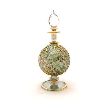 Large Egyptian Glass Perfume Bottle, Gold Genie Bottle, Glass Perfume Vial, Ornate Perfume Bottle, Antique Perfume Bottle, Glass Perfume Jar