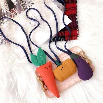 Korea New Handmade Cute Fabric Eggplant Carrot Pumpkin Children Kids Girl Necklaces Fashion Jewelry Accessories-SWCGNL060D5