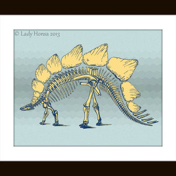 Geometric pattern Stegosaurus dinosaur fossil print, blue and yellow art, nerd poster, dinosaur skeleton, science poster, dorm decor poster