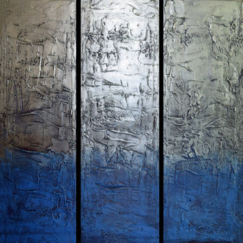 "EXTRA LARGE WALL art triptych 3 panel wall art "" Eccentric Silver "" paintings on canvas sculpture original metal wall art blue 48 x 48"""