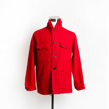 "Vintage 60s PENDLETON COAT - MEN'S Red Wool Jacket 46"" Large 1960s"
