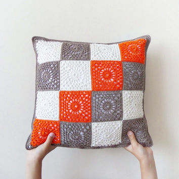 Granny square crochet pillowcase, orange brown throw pillow, two sided geometric cushion, cotton crocheted decorative pillow cover