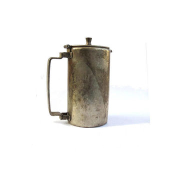 Vintage pewter creamer. Silver plated tall pewter milk jug. Restaurant creamer. Large handle. Made by Meneses spain.