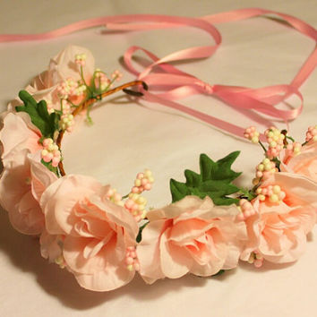 Pink Flower Crown, Adjustable Flower Headband, Flower Girl Headbands, Flower Wreaths, Rose Flower Headband, Spring Festival Hair Accessories
