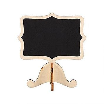 10Pcs Mini Wooden Chalkboard Blackboard Message Table Number Sign with Base Stand for Wedding Party Decor ( Color : Gold )