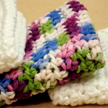 Set of 3 White and Multi-Color Crochet Dishcloth/Washcloth/Spa Cloth/Face Cloth