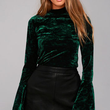 Lost + Wander Victoria Forest Green Velvet Long Sleeve Top