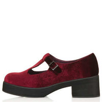 MAISIE Velvet T Bar Geek shoes